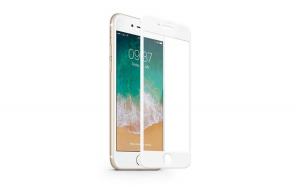 Set 2x Folie MTP 9D pentru iPhone 8 Plus White Full Cover margini curbate