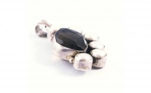 Pandantiv din Argint cu piatra de Cuart fumuriu si Perle