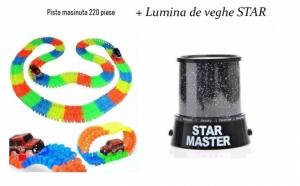 Pista flexibila 220 piese, cu masinuta + Cadou Lampa de veghe Star master, cu cablu USB