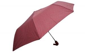 Umbrela pliabila automata, buton deschidere, grena cu buline, 110cm diametru, articulatii anti-vant