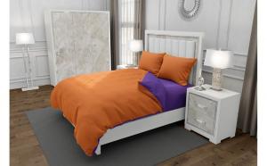 Lenjerie de pat matrimonial cu husa elastic pat si 4 huse perna dreptunghiulara, Duo Orange, bumbac satinat, gramaj tesatura 120 g mp, Portocaliu Mov, 6 piese