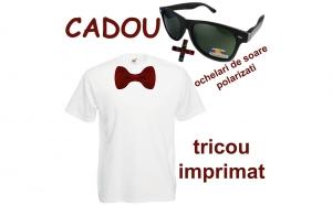 Tricou cu imprimeu DTG papion + cadou ochelari de soare nerd, polarizati