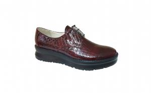 Pantofi dama din piele naturala croco cu talpa ortopedica visiniu si bleumarin