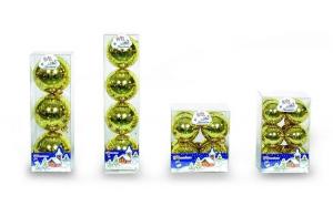 Set 4 globuri 70mm auriu decor glitter stele aurii