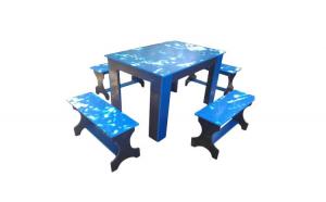 Masa cu canapele din pvc albastru cu gri