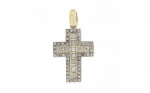 Crucifix din aur galben 14K cu diamante