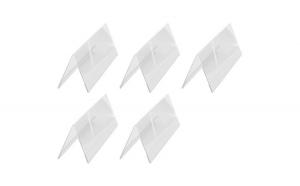 Suport nume/pret tip V, 300 x 105 mm, doua fete, 5 buc/set, transparent, cu folie protectie, Retif