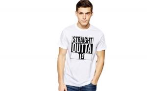 Tricou alb barbati - Straight Outta Tei