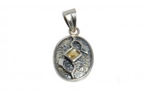 Pandantiv din argint ornamentat cu citrin fatetat