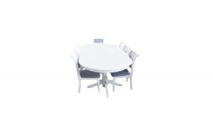 Masa cu 12 scaune, alb, lemn,