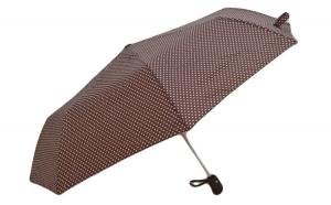 Umbrela pliabila automata, buton deschidere, maro cu buline, 110cm diametru, articulatii anti-vant