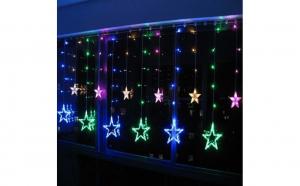Instalatie Ghirlanda Perdea 12 Stele cu LEDuri Luminoase Multicolore 3x1m