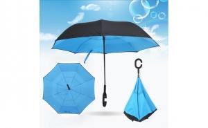 Umbrela reversibila cu maner in forma C si spite din fibre elastice - numai 79 RON redus de la 169 RON