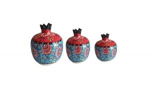 Set 3 bibelou stil ottoman din ceramica, albastru cu rosu, EHA