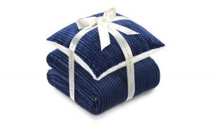 Set patura si perna albastru 130x190
