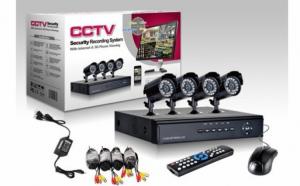 Sistem supraveghere CCTV kit DVR 4 camere exterior/interior, internet, infrarosu, optiune vizionare de pe Smartphone, accesorii complete