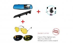 Camera Video Full HD - oglinda auto + Ochelari condus pentru noapte + Mini Casca Bluetooth