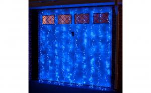 Instalatie de Craciun, tip PERDEA PLOAIE 8x1 metri , 300 Led uri, Albastru, AGR019B