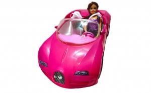 Masina de lux roz  35 cm cu papusa