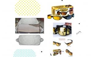 Pachet pentru masina - 2 perechi de ochelari hd vision de zi si de noapte + prelata parbriz