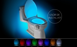 Lampa led multicolora pentru toaleta, sensor de miscare si lumina