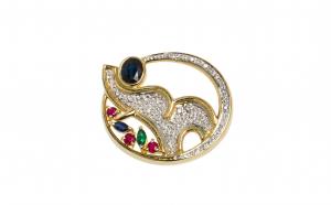 Brosa, Elefant, din aur 14K, cu safire, rubine, smarald e si diamante