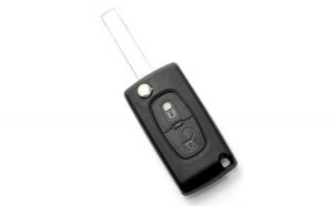 Citroen / Peugeot 407 - Carcasa tip cheie briceag cu 2 butoane, lama HU83-SH2 cu suport baterie GLZ-CC098