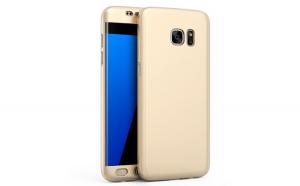 Husa Samsung Galaxy S7 Edge Flippy Full Cover 360 Auriu + Folie de protectie