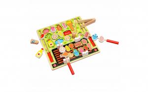 Puzzle Montessori lemn 4 in 1 alimente