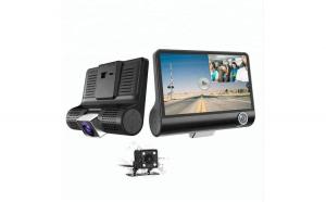 Camera Video Auto Tripla Blackbox™ L300-1, Full-HD, 3 Camere - Fata/Spate/Interior, Ecran 4'', G Senzor, 170 grade, Monitor Parcare