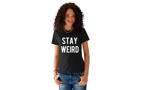 Tricou dama negru  -  Stay Weird