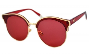 Ochelari de soare Ochi de Pisica Rosu Rubin - Auriu