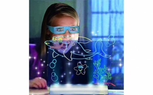 Tabla pentru desenat 3D Draw and Glow, panou transparent, ochelari 3D, sabloane, carioci luminoase, suport cu led