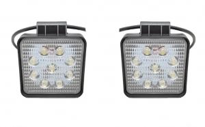 Set 2 proiectoare patrate LED Auto 27W/12V-24V