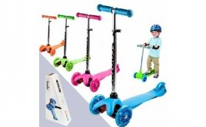 Trotineta reglabila Scooter, cu 3 roti luminoase, pliabila, solida si stabila