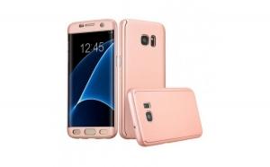 Husa Samsung Galaxy S7 Flippy Full Cover 360 Roz Auriu + Folie de protectie