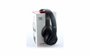 Casti Wireless Bluetooth P47 + Cadou portofel Negru