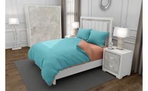 Lenjerie de pat matrimonial cu husa de perna dreptunghiulara, Duo Turquoise, bumbac satinat, gramaj tesatura 120 g mp, Turcoaz Somon, 4 piese