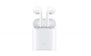 Casti wireless I7 True Twin Stereo White, Compatibile Android & iOS, Conectare BlueTooth, Apeluri telefon, Docking Station Cadou