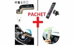 Pachet Modulator FM + suport magnetic auto, pentru telefonul mobil