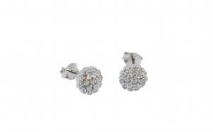 Cercei din argint, zirconii circulare, model floare