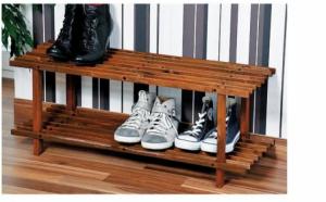 Suport de incaltaminte, din lemn, cu 2 etajere