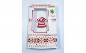 Martisor tip brosa cu motive traditionale, Alb, Rosu 4cm