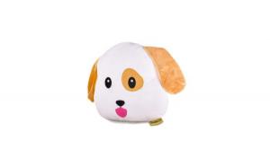 Jucarie Plus Emoji Caine Happy Face, Textil, Maro/Alb 35 cm