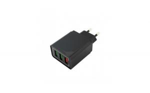 Adaptor priza cu 3 porturi USB, negru