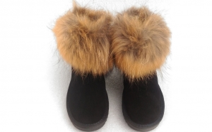 Ghete cu blana de vulpe - piele naturala, Iarna
