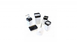 Set pentru baie din acryl, 5 elemente, alb/negru