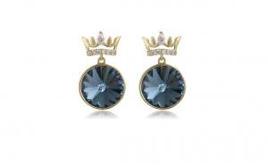 Cercei cu cristale Zwarovski, placati cu aur de 14K, model Royal