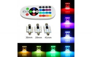 Bec SOFIT 39MM. RGB CU TELECOMANDA - 6 LED SMD 5050 RGB 12V (pret/set)