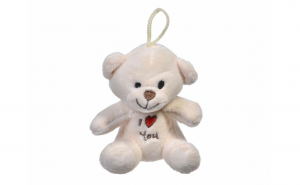 "Ursulet de plus, ""I Love You"", alb, 11 cm"